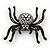 Large Swarovski Crystal 'Spider' Brooch In Black Metal - 6cm Length - view 4