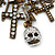 'Crosses, Hearts & Skulls' Charm Safety Pin Brooch In Bronze Finish Metal - - view 6