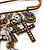 'Crosses, Hearts & Skulls' Charm Safety Pin Brooch In Bronze Finish Metal - - view 3