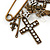 'Crosses, Hearts & Skulls' Charm Safety Pin Brooch In Bronze Finish Metal - - view 4