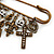 'Crosses, Hearts & Skulls' Charm Safety Pin Brooch In Bronze Finish Metal - - view 5