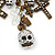 'Crosses, Hearts & Skulls' Charm Safety Pin Brooch In Bronze Finish Metal - - view 2