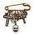 'Crosses, Hearts & Skulls' Charm Safety Pin Brooch In Bronze Finish Metal - - view 7