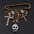 'Crosses, Hearts & Skulls' Charm Safety Pin Brooch In Bronze Finish Metal - - view 8