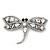 Gigantic Clear Glass Crystal 'Dragonfly' Brooch In Gun Metal - 11cm Length - view 2