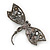 Gigantic Clear Glass Crystal 'Dragonfly' Brooch In Gun Metal - 11cm Length - view 6