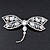 Gigantic Clear Glass Crystal 'Dragonfly' Brooch In Gun Metal - 11cm Length - view 12