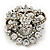 Ice Clear Diamante Corsage Brooch In Antique Gold Metal - 5cm Diameter