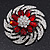 Red/Clear Diamante Flower Scarf Pin Brooch In Silver Plating - 5.5cm Diameter - view 2