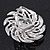 Red/Clear Diamante Flower Scarf Pin Brooch In Silver Plating - 5.5cm Diameter - view 7