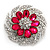Magenta/Clear Diamante Flower Scarf Pin Brooch In Silver Plating - 5.5cm Diameter