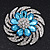 Light Blue/Clear Diamante Flower Scarf Pin Brooch In Silver Plating - 5.5cm Diameter