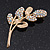 Gold Plated AB Crystal 'Reed' Floral Brooch - 5cm Length