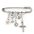 'Simulated Pearl, Cross, Lock&Key' Safety Pin Brooch In Rhodium Plated Metal -
