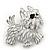 White Enamel Yorkie Puppy Dog Brooch In Rhodium Plating - 4cm Length