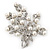 White Simulated Pearl/ Clear Crystal Floral Brooch In Rhodium Plating - 6cm Length - view 2