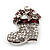 Small Clear Swarovski Crystal Christmas Stocking Brooch In Rhodium Plated Metal - 3cm Length - view 5