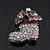 Small Clear Swarovski Crystal Christmas Stocking Brooch In Rhodium Plated Metal - 3cm Length - view 4