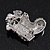 Small Clear Swarovski Crystal Christmas Stocking Brooch In Rhodium Plated Metal - 3cm Length - view 3