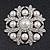 Bridal Swarovski Crystal/ Simulated Pearl Corsage Brooch In Rhodium Plating - 5cm Diameter