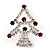 Green/Red/White Crystal 'Christmas Tree' Brooch In Silver Plating - 4.5cm Length - view 5