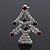 Green/Red/White Crystal 'Christmas Tree' Brooch In Silver Plating - 4.5cm Length - view 2