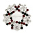 Red/Green/White Crystal Christmas Holly Wreath Brooch In Silver Plating - 3.5cm Diameter