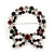 Red/Green/White Crystal Christmas Holly Wreath Brooch In Silver Plating - 4.5cm Length