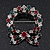 Red/Green/White Crystal Christmas Holly Wreath Brooch In Silver Plating - 4.5cm Length - view 2