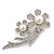 'Double Flower' Simulated Pearl/ Crystal Brooch In Rhodium Plating - 7.5cm Length - view 2