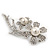 'Double Flower' Simulated Pearl/ Crystal Brooch In Rhodium Plating - 7.5cm Length - view 7