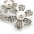 'Double Flower' Simulated Pearl/ Crystal Brooch In Rhodium Plating - 7.5cm Length - view 4