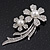 'Double Flower' Simulated Pearl/ Crystal Brooch In Rhodium Plating - 7.5cm Length