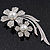 'Double Flower' Simulated Pearl/ Crystal Brooch In Rhodium Plating - 7.5cm Length - view 8