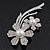 'Double Flower' Simulated Pearl/ Crystal Brooch In Rhodium Plating - 7.5cm Length - view 3