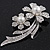 'Double Flower' Simulated Pearl/ Crystal Brooch In Rhodium Plating - 7.5cm Length - view 5