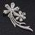 'Double Flower' Simulated Pearl/ Crystal Brooch In Rhodium Plating - 7.5cm Length - view 6
