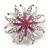 Pink/Magenta Enamel Diamante 'Flower' Brooch In Silver Plating - 4.5cm Diameter