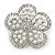 Wedding Simulated Pearl Diamante 'Flower' Brooch In Rhodium Plating - 4.5cm Diameter