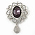 Swarovski Crystal and Violet Oval Jewel Filigree Drop Charm Brooch (Rhodium Plated) -  65mm Long - view 6