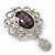 Swarovski Crystal and Violet Oval Jewel Filigree Drop Charm Brooch (Rhodium Plated) -  65mm Long - view 7