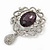 Swarovski Crystal and Violet Oval Jewel Filigree Drop Charm Brooch (Rhodium Plated) -  65mm Long - view 5