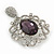 Swarovski Crystal and Violet Oval Jewel Filigree Drop Charm Brooch (Rhodium Plated) -  65mm Long - view 4