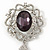 Swarovski Crystal and Violet Oval Jewel Filigree Drop Charm Brooch (Rhodium Plated) -  65mm Long - view 2