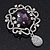 Swarovski Crystal and Violet Oval Jewel Filigree Drop Charm Brooch (Rhodium Plated) -  65mm Long - view 9