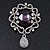 Swarovski Crystal and Violet Oval Jewel Filigree Drop Charm Brooch (Rhodium Plated) -  65mm Long - view 8