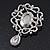 Swarovski Crystal and Violet Oval Jewel Filigree Drop Charm Brooch (Rhodium Plated) -  65mm Long - view 3