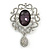 Swarovski Crystal and Violet Oval Jewel Filigree Drop Charm Brooch (Rhodium Plated) -  65mm Long