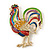 Multicoloured Enamel Diamante 'Rooster' Brooch In Gold Plating - 6cm Length - view 3