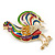 Multicoloured Enamel Diamante 'Rooster' Brooch In Gold Plating - 6cm Length - view 8